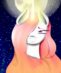 Size: 3000x3600 | Tagged: safe, artist:prismicdiamondart, princess celestia, alicorn, pony, bust, eyelashes, female, full moon, glowing horn, horn, mare, moon, night, pink-mane celestia, signature, solo, stars