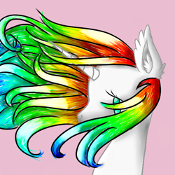 Size: 500x500 | Tagged: safe, artist:prismicdiamondart, oc, oc only, oc:prismatic spectrum rainbow, pony, unicorn, bust, ear fluff, female, horn, mare, multicolored hair, rainbow hair, simple background, solo, unicorn oc, windswept mane