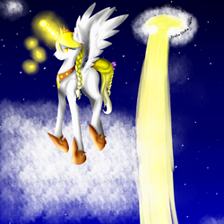 Size: 2550x2550 | Tagged: safe, artist:prismicdiamondart, oc, oc only, oc:chrysoberyl, alicorn, pony, alicorn oc, cloud, eyelashes, female, flower, flower in hair, glowing horn, hoof shoes, horn, mare, night, on a cloud, peytral, solo, speedpaint available, stars