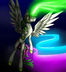 Size: 1140x1251 | Tagged: safe, artist:prismicdiamondart, oc, oc only, oc:emerald, alicorn, pony, alicorn oc, aurora borealis, colored hooves, female, flying, glowing horn, horn, laurel wreath, mare, night, solo, speedpaint available, stars