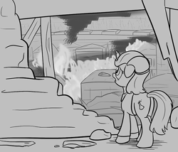 Size: 700x600 | Tagged: safe, artist:sirvalter, oc, oc:professor beaker, pony, unicorn, fanfic:steyblridge chronicle, black and white, clothes, disaster, fanfic, fanfic art, female, fire, floppy ears, grayscale, hooves, horn, illustration, lab coat, mare, monochrome, open mouth, research institute, ruins, scientist, solo