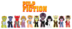 Size: 2688x1112   Tagged: safe, artist:vgc2001, jules winnfield, vincent vega, earth pony, pony, butch coolidge, captain koons, clothes, fabienne, female, happy, honey bunny (pulp fiction), jimmie dimmick, logo, male, mare, marsellus wallace, mia wallace, mules grassfield, ponified, prancent pega, pulp fiction, pumpkin (pulp fiction), serious, serious face, stallion, suit, zed