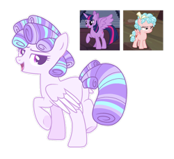 Size: 1280x1166   Tagged: safe, artist:lockandkeyadopts, cozy glow, twilight sparkle, alicorn, pegasus, base used, cozytwi, female, magical lesbian spawn, offspring, parent:cozy glow, parent:twilight sparkle, parents:cozytwi, simple background, this will end in conquest, transparent background, twilight sparkle (alicorn), xk-class end-of-the-world scenario