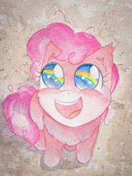 Size: 3024x4032 | Tagged: safe, artist:papersurgery, pinkie pie, earth pony, pony, the cutie mark chronicles, female, filly, filly pinkie pie, happy, looking up, open mouth, rainbow, scene interpretation, sitting, smiling, solo, traditional art, watercolor painting, younger