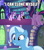Size: 640x720 | Tagged: safe, edit, edited screencap, screencap, spike, starlight glimmer, trixie, twilight sparkle, alicorn, pony, all bottled up, every little thing she does, caption, cute, diatrixes, duality, excited, grin, image macro, implied lesbian, implied shipping, implied startrix, library, meme, self ponidox, similo duplexis, smiling, text, twilight sparkle (alicorn), twilight's castle, twilight's castle library