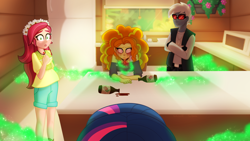 Size: 1280x720 | Tagged: safe, artist:faith-wolff, adagio dazzle, gloriosa daisy, twilight sparkle, fanfic:the bridge, equestria girls, camp everfree, crossover, dark magic, fanfic art, geode of empathy, geode of super speed, geode of telekinesis, gigan, godzilla (series), kitchen, magic, magical geodes, story included