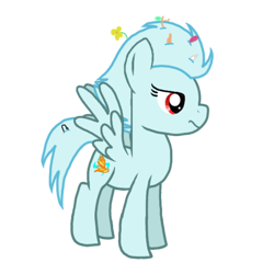 Size: 768x768 | Tagged: safe, artist:crystal wishes, oc, oc only, oc:windy breeze, pegasus, pony, feather, female, flower, implied spitfire, mare, messy mane, paper clip, pegasus oc, scowl, shards, simple background, solo, transparent background, twig, wings