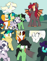 Size: 1764x2252 | Tagged: safe, artist:shinodage, oc, oc only, oc:apogee, oc:corona chan, oc:dyx, oc:filly anon, oc:luftkrieg, oc:nyx, oc:porona, oc:zala, alicorn, bat pony, earth pony, pegasus, pony, zebra, alicorn oc, alternate mane six, bat pony oc, bat wings, boop, coronavirus, covid-19, eeee, face mask, female, filly, filly four, freckles, mask, non-consensual booping, povid-19, ppe, shocked, shocked expression, surgical mask, this will end in death, this will end in tears, this will end in tears and/or death, wide eyes, wings