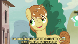 Size: 1280x720 | Tagged: safe, edit, edited screencap, editor:jaredking203, screencap, feather bangs, earth pony, pony, hard to say anything, caption, image macro, male, meme, stallion, text