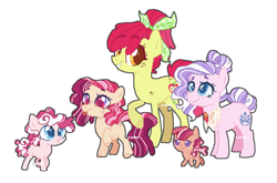 Size: 924x609 | Tagged: safe, artist:s-unny--daydream, apple bloom, diamond tiara, oc, oc:apple grove, oc:jupiter blossom, oc:sour belle, earth pony, pony, base used, body freckles, colt, diamondbloom, family, female, filly, freckles, lesbian, magical lesbian spawn, male, mare, offspring, older, older apple bloom, older diamond tiara, parent:apple bloom, parent:diamond tiara, parents:diamondbloom, shipping, simple background, tongue out, transparent background