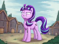 Size: 2364x1736 | Tagged: safe, artist:thebowtieone, starlight glimmer, pony, the cutie map, equal cutie mark, our town, s5 starlight, shrunken pupils, solo, squint, starlight glimmer is best facemaker, this will end in communism