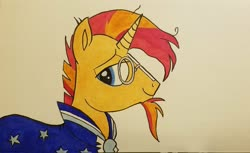 Size: 2048x1252 | Tagged: safe, artist:polar_storm, sunburst, pony, unicorn, blue eyes, cloak, clothes, colored sketch, glasses, male, simple background, smug, solo, stallion, traditional art, white background