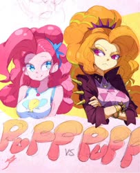 Size: 750x922 | Tagged: safe, artist:aetherionart, adagio dazzle, pinkie pie, equestria girls, colored pupils, crossed arms, duo