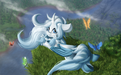 Size: 3200x2000 | Tagged: safe, artist:shido-tara, oc, alicorn, butterfly, alicorn oc, blue eyes, cloud, commission, grass, lying down, mountain, river, watching in camera, wood