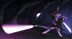 Size: 2800x1500 | Tagged: safe, artist:shido-tara, starlight glimmer, alternate hairstyle, cave, crossover, darkness, darth traya, knights of the old republic, lightsaber, pigtails, sith, star wars, star wars: the old republic, twintails, weapon
