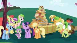 Size: 1920x1080 | Tagged: safe, screencap, applejack, granny smith, spike, twilight sparkle, dragon, earth pony, pony, unicorn, friendship is magic, cheek bulge, sweet apple acres, unicorn twilight