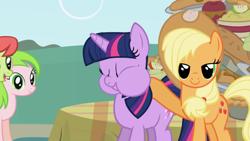 Size: 1920x1080 | Tagged: safe, screencap, applejack, peachy sweet, red gala, twilight sparkle, earth pony, pony, unicorn, friendship is magic, apple family member, cheek bulge, sweet apple acres, unicorn twilight