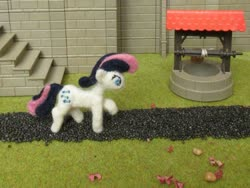 Size: 1024x769 | Tagged: safe, alternate version, artist:malte279, bon bon, sweetie drops, earth pony, craft, cutie mark, felt, felting, needle felted, playmobil, plushie, stairs, well