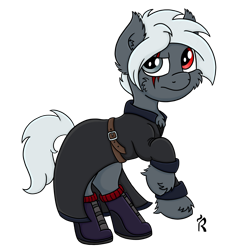 Size: 1280x1291 | Tagged: safe, artist:dawn-designs-art, oc, oc only, oc:steven allen fischer, earth pony, pony, boots, clothes, coat, digital art, gray coat, male, rearing, red eye, scar, shoes, silver eyes, silver mane, simple background, solo, stallion, transparent background
