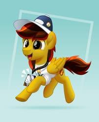 Size: 800x992 | Tagged: safe, artist:jhayarr23, sunburst, oc, oc:ace swift, pegasus, pony, 2020, cap, clothes, hat, male, ponycon, shirt, solo, stallion