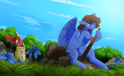 Size: 4500x2771 | Tagged: safe, artist:the-minuscule-task, oc, oc:bizarre song, pegasus, pony, cape, carving, clothes, colored, cutie mark, everfree forest, folded wings, grass, knife, messy mane, pillar, poison joke, ruins, sitting, sky, solo, statue, wings, wood