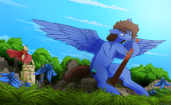 Size: 4500x2771 | Tagged: safe, alternate version, artist:the-minuscule-task, oc, oc only, oc:bizarre song, pegasus, pony, cape, carving, clothes, colored, cutie mark, everfree forest, grass, knife, messy mane, pillar, poison joke, ruins, sitting, sky, solo, spread wings, statue, wings, wood