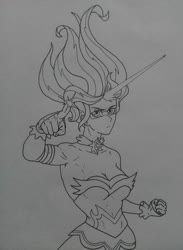 Size: 2296x3130 | Tagged: safe, artist:public mistake, sunset shimmer, equestria girls, friendship games, daydream shimmer, looking at you, monochrome, pointing, simple background, traditional art