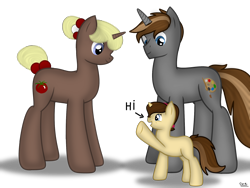 Size: 1800x1350 | Tagged: safe, artist:99999999000, oc, oc:mar baolin, oc:mar ker, pony, unicorn, daughter, father, father and child, father and daughter, female, filly, happy, hi, male, simple background, transparent background, young