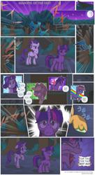 Size: 3300x6068 | Tagged: safe, artist:perfectblue97, applejack, rainbow dash, rarity, twilight sparkle, earth pony, pegasus, unicorn, comic:shadows of the past, comic, crying, tears of pain, unicorn twilight