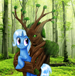 Size: 1000x1018 | Tagged: safe, artist:aprion, trixie, oc, ent, pony, unicorn, fanfic art, female, forest, hug, mare, smiling, treant, tree
