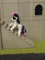 Size: 774x1032 | Tagged: safe, alternate version, artist:malte279, bon bon, sweetie drops, earth pony, craft, felt, felting, grappling hook, needle felted, playmobil, plushie, s.m.i.l.e., secret agent sweetie drops, special agent, stairs, sunglasses