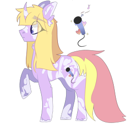 Size: 2500x2500 | Tagged: safe, artist:bublebee123, oc, oc only, oc:stardust serenade, pony, unicorn, icey-verse, curved horn, female, horn, magical lesbian spawn, mare, markings, multicolored hair, offspring, parent:fuchsia blush, parent:lavender lace, parents:fuchsiavender, raised hoof, simple background, solo, transparent background