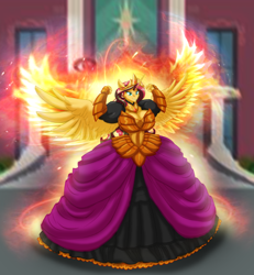 Size: 4252x4592 | Tagged: safe, artist:invisibleguy-ponyman, sunset shimmer, alicorn, anthro, alicornified, armor, big breasts, breasts, burning, busty sunset shimmer, clothes, commission, crown, dress, fiery shimmer, fiery wings, fire, gown, horn, huge breasts, jewelry, palace, race swap, regalia, shimmercorn, stairs, wings