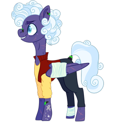 Size: 2500x2500 | Tagged: safe, artist:bublebee123, rolling thunder, pegasus, pony, icey-verse, alternate hairstyle, bandage, bandaid, clothes, commission, ear piercing, earring, eye scar, female, grin, jeans, jersey, jewelry, mare, pants, piercing, redesign, scar, shirt, simple background, smiling, solo, t-shirt, tattoo, transparent background