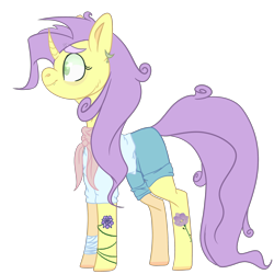 Size: 2500x2500 | Tagged: safe, artist:bublebee123, sunshine petals, pony, unicorn, icey-verse, alternate hairstyle, bandage, clothes, commission, curved horn, ear piercing, earring, female, horn, jewelry, mare, piercing, redesign, scarf, shirt, shorts, simple background, snake bites, solo, t-shirt, tattoo, transparent background