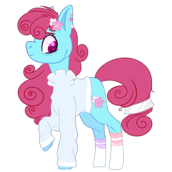 Size: 2500x2500 | Tagged: safe, artist:bublebee123, bluebonnet, earth pony, pony, icey-verse, alternate hairstyle, clothes, commission, ear piercing, earring, female, flower, flower in hair, heart eyes, jewelry, mare, mismatched socks, piercing, raised hoof, redesign, simple background, socks, solo, striped socks, sweater, transparent background, wingding eyes