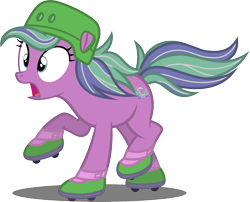 Size: 2153x1741 | Tagged: safe, artist:tsabak, scooter sprite, earth pony, pony, cap, g3, g3 to g4, generation leap, hat, simple background, skates, solo, transparent background