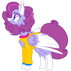 Size: 2500x2500 | Tagged: safe, artist:bublebee123, oc, oc only, oc:flower shines, pony, icey-verse, alternate hairstyle, chest fluff, clothes, commission, ear piercing, earring, female, jewelry, magical lesbian spawn, mare, markings, offspring, open-chest sweater, parent:bluebonnet, parent:rolling thunder, parents:bluethunder, piercing, redesign, simple background, solo, sweater, tattoo, transparent background