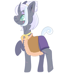 Size: 2500x2500 | Tagged: safe, artist:bublebee123, oc, oc only, oc:sunray zap, pony, unicorn, icey-verse, alternate hairstyle, choker, cloak, clothes, commission, curved horn, ear piercing, earring, eye scar, female, horn, jewelry, magical lesbian spawn, mare, offspring, parent:rolling thunder, parent:sunshine petals, parents:rollingpetals, piercing, raised hoof, redesign, scar, shorts, simple background, solo, transparent background