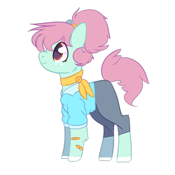 Size: 2500x2500 | Tagged: safe, artist:bublebee123, oc, oc only, oc:tulip seed, earth pony, pony, icey-verse, alternate hairstyle, bandaid, clothes, commission, female, freckles, jeans, magical lesbian spawn, mare, markings, offspring, older, pants, parent:bluebonnet, parent:sunshine petals, parents:sunbonnet, redesign, scarf, shirt, simple background, solo, transparent background