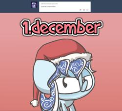 Size: 1280x1168 | Tagged: safe, artist:switchy, oc, oc:thauma disk, pony, chibi, christmas, hat, holiday, santa hat, solo