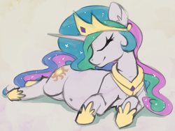 Size: 1821x1372 | Tagged: safe, artist:marsminer, princess celestia, alicorn, pony, belly, belly button, big belly, content, crown, ethereal mane, eyes closed, female, jewelry, mare, momlestia, preglestia, pregnant, regalia, simple background, smiling, solo