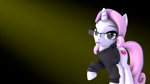 Size: 886x498 | Tagged: safe, artist:melbournesfm, sweetie belle, pony, unicorn, growing up is hard to do, 3d, clothes, female, glasses, gradient background, looking at you, mare, simple background, solo, source filmmaker