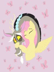 Size: 2448x3264 | Tagged: safe, artist:pinstriped-pajamas, discord, fluttershy, butterfly, draconequus, pegasus, pony, bust, cuddling, cutie mark background, discoshy, eyes closed, female, hug, male, mare, shipping, smiling, spread wings, straight, wings