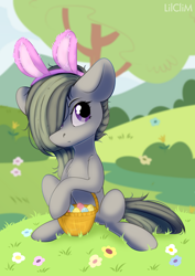 Size: 3000x4230 | Tagged: safe, artist:lilclim, marble pie, earth pony, pony, basket, bunny ears, cute, easter, easter basket, female, flower, grass, hair over one eye, high res, holiday, marblebetes, mare, sitting, solo