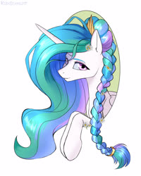 Size: 2000x2500 | Tagged: safe, artist:kirasunnight, princess celestia, alicorn, pony, alternate hairstyle, braid, braided ponytail, cute, female, flower, flower in hair, grin, lidded eyes, looking at you, mare, multicolored hair, signature, simple background, smiling, solo, white background