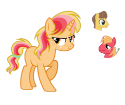 Size: 1024x857 | Tagged: safe, artist:sapphiretwinkle, big macintosh, caramel, pony, unicorn, female, magical lesbian spawn, mare, offspring, parent:big macintosh, parent:caramel, parents:caramac, simple background, solo, transparent background