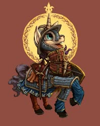Size: 1280x1618 | Tagged: safe, artist:lordgood, pony, unicorn, armor, gambeson, helmet, sword, t shirt design, weapon