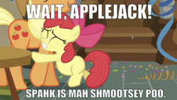 Size: 1220x687 | Tagged: safe, edit, edited screencap, editor:undeadponysoldier, screencap, apple bloom, applejack, earth pony, pony, call of the cutie, bow, caption, confetti, cute, episode reference, female, filly, hair bow, image macro, implied shipping, implied spike, implied spikebloom, implied straight, mare, meme, reaching, sweat, text, wubby dubby talk
