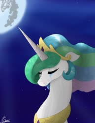 Size: 1280x1657 | Tagged: safe, artist:normgear2, princess celestia, lullaby for a princess, bust, crying, mare in the moon, moon, sad